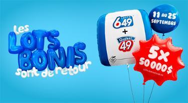 Lots bonis - Québec 49 + Lotto 6/49